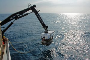 ROV Deep Discoverer (D2), is deployed off of the Okeanos. Credit: NOAA OER